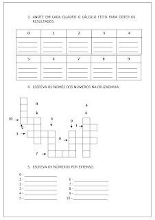 Atividade de Matemática 2 - De 0 até 10.