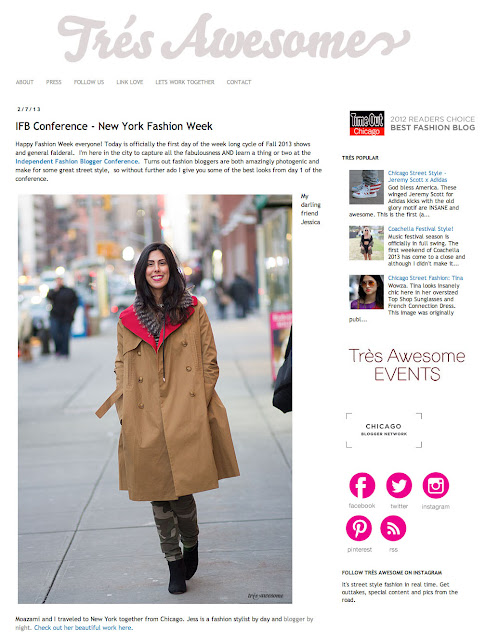 Jessica Moazami aka Fashion Junkie featured on Tres Awesome at NYFW