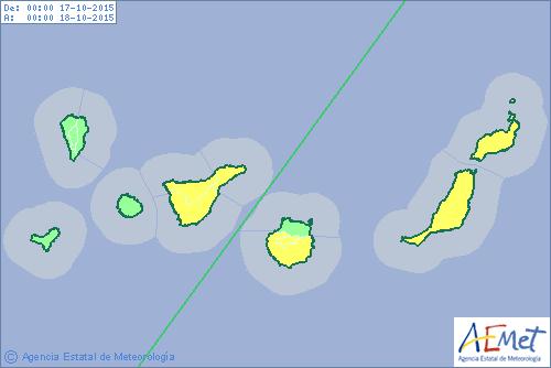 aviso por lluvias Fuerteventura, Lanzarote, Tenerife, Gran Canaria 17 octubre