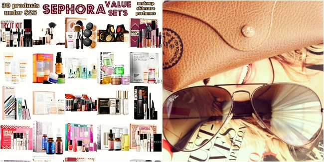 Instagram @lelazivanovic. Gift time: 30 under $25 Sephora Value Sets. Ray-Ban viator sunglasses.