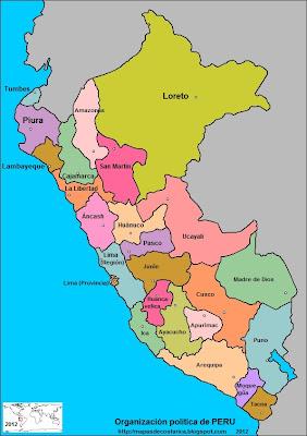 Mapa de la organización política de PERU con los nombre de los departamentos