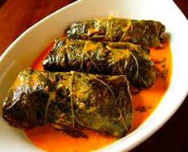 Buntil (Cassava wrap in coconut sauce)