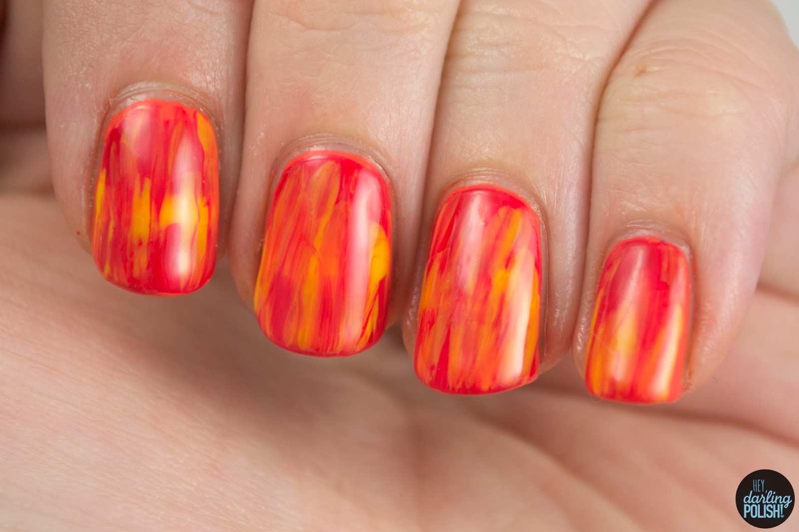 nails, nail polish, polish, nail art, red, yellow, orange, tri polish challenge, tpc, color drag, hey darling polish