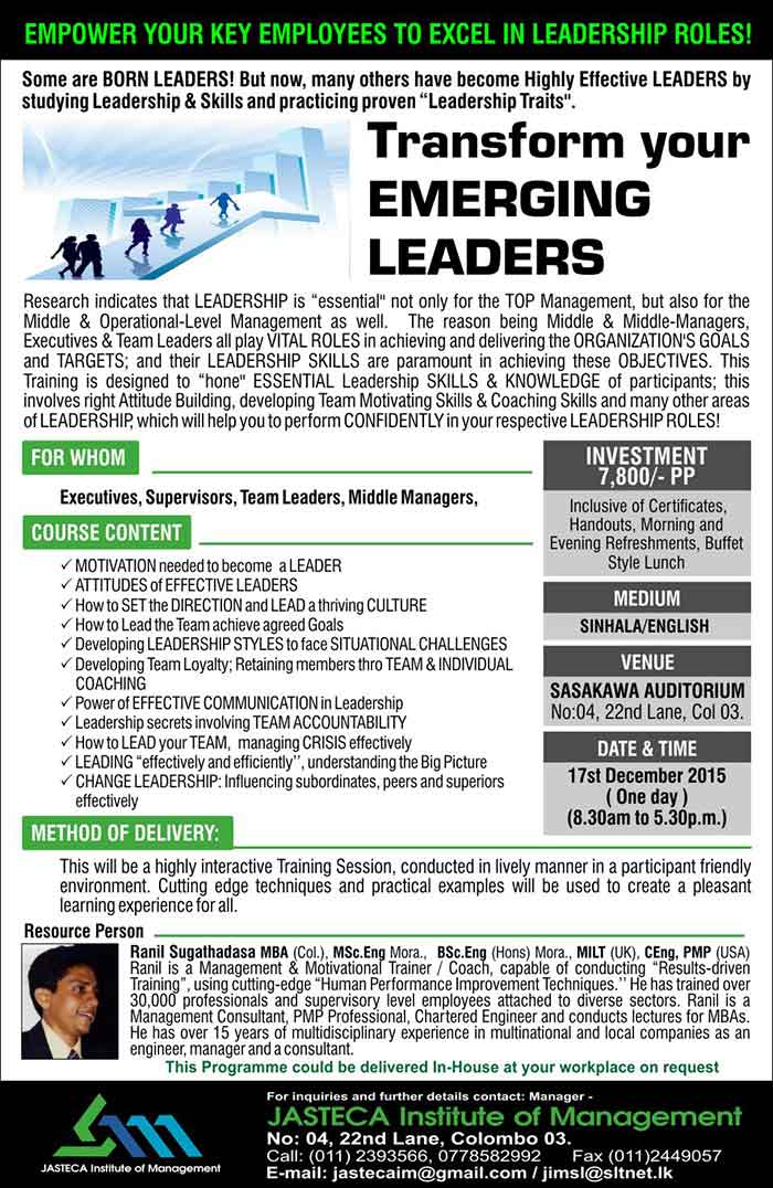 """Research indicates that LEADERSHIP is """"essential'' not only for the TOP Management, but also for the Middle & Operational-Level Management as well.  The reason being Middle & Middle-Managers, Executives & Team Leaders all play VITAL ROLES in achieving and delivering the ORGANIZATION'S GOALS and TARGETS; and their LEADERSHIP SKILLS are paramount in achieving these OBJECTIVES. This Training is designed to """"hone'' ESSENTIAL Leadership SKILLS & KNOWLEDGE of participants; this involves right Attitude Building, developing Team Motivating Skills & Coaching Skills and many other areas of LEADERSHIP, which will help you to perform CONFIDENTLY in your respective LEADERSHIP ROLES!"""