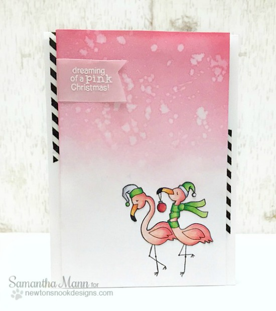 Pink Christmas Flamingo Card by Samantha Mann | Flirty Flamingos stamp set by Newton's Nook Designs #newtonsnook #flamingo