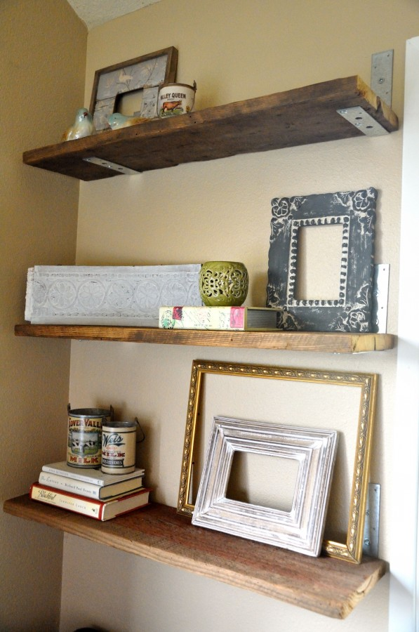 Binkies burlap homemade shelves for Easy diy wall shelf