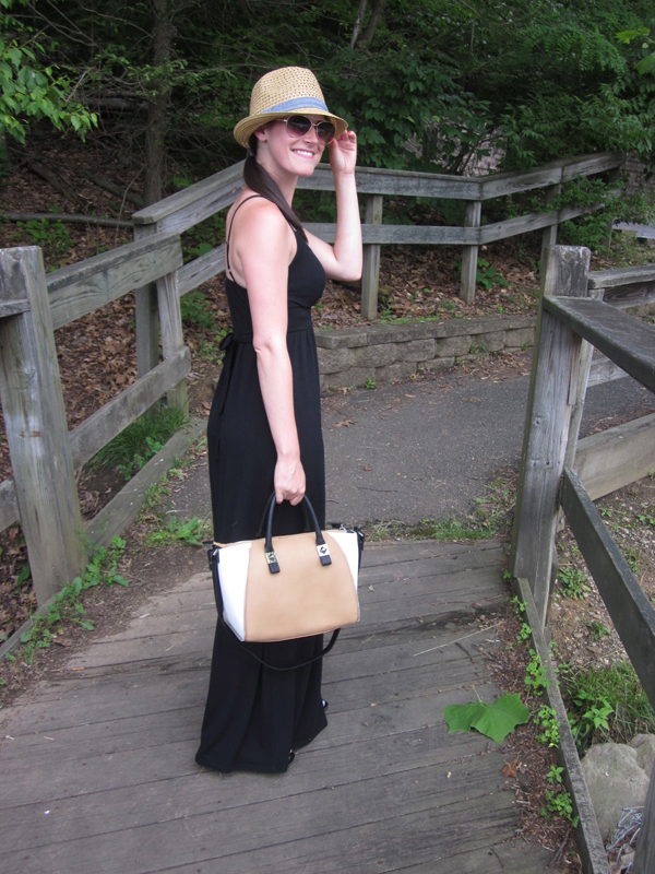 black maxi dress, fedora, bowing bag