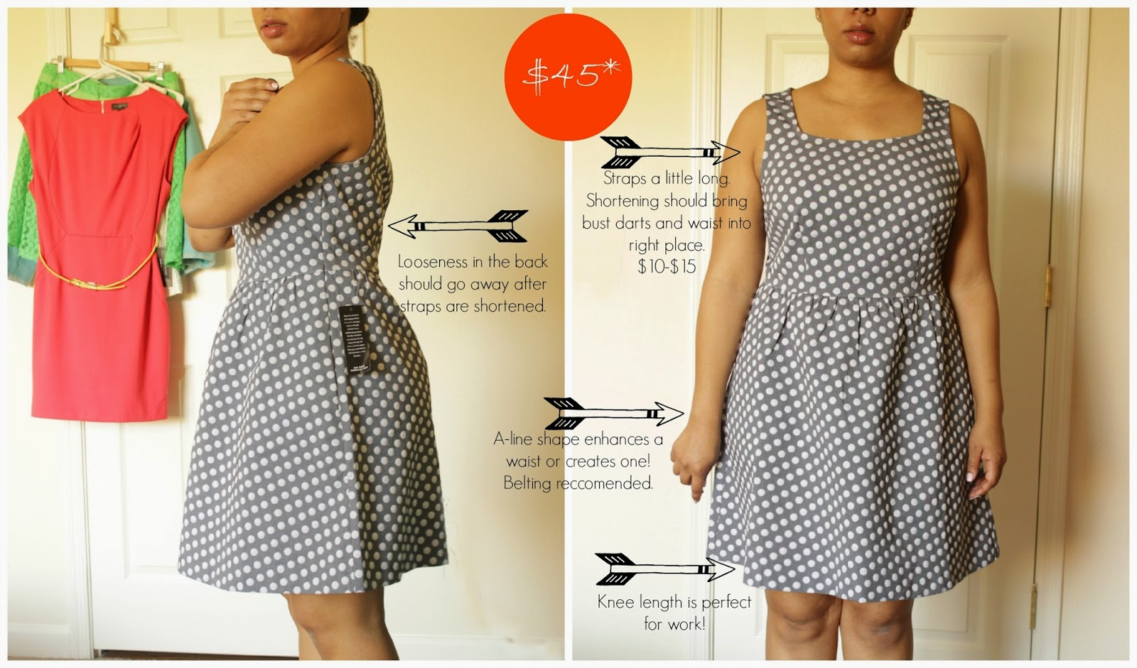the limited petite grey polka dot dress