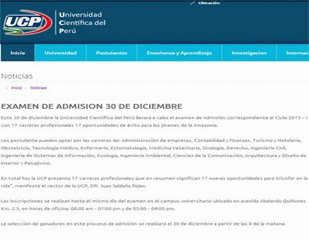 Resultados Ingresantes Examen Ciclo 2013 1 UCP Invierno 2013 23 de Diciembre