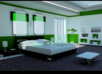 Design Camera da letto con colore naturale concetto di verde