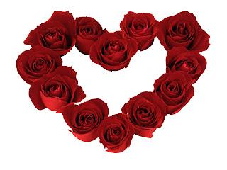 Rosas rojas con forma de corazón