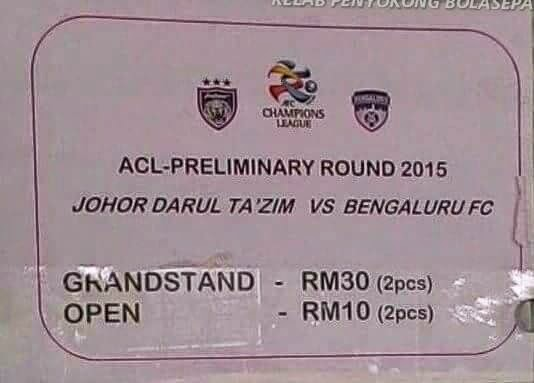 Tiket JDT Vs Bengaluru FC 4 Feb 2015