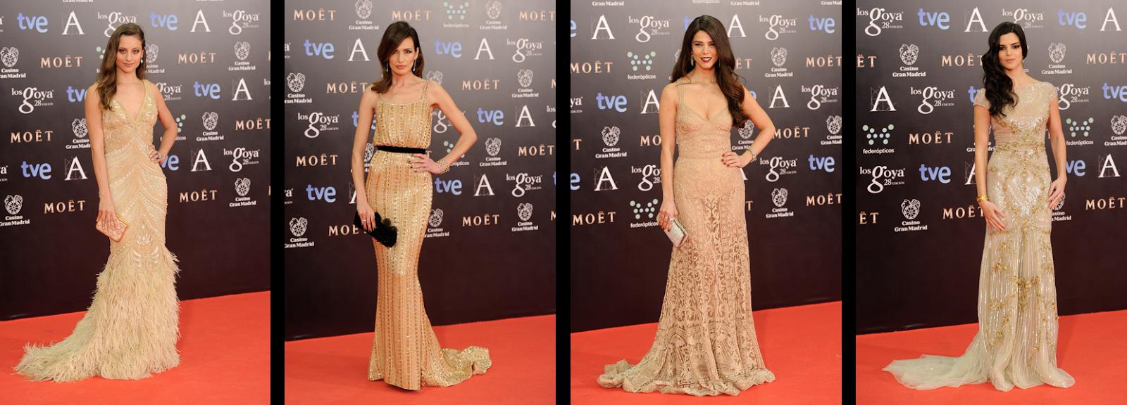 Gala de los Goya 2014 actrices vestidas de dorado