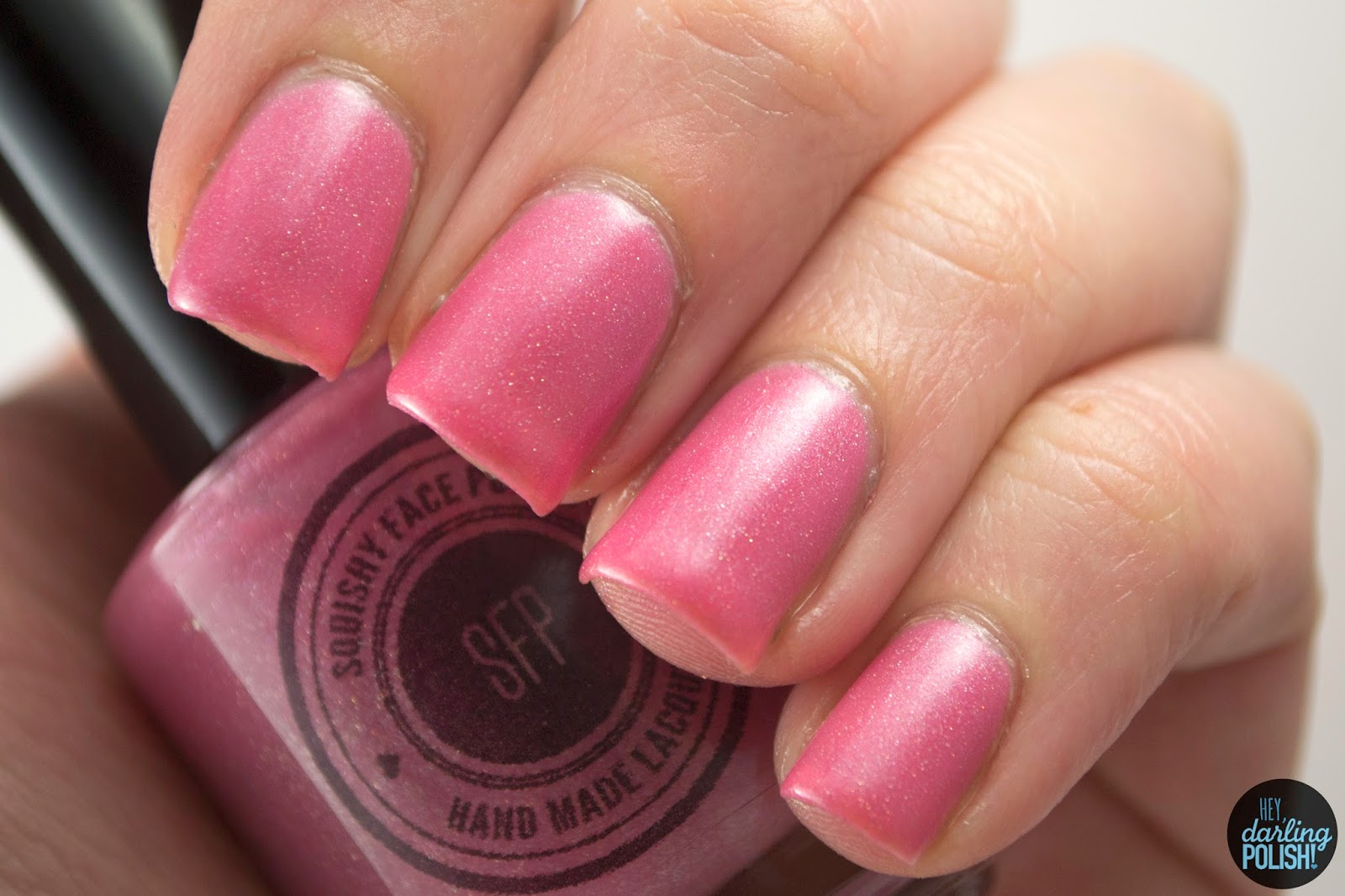 nails, nail polish, indie, indie polish, pink, pink anemonemone, squishy face polish, swatch, hey darling polish