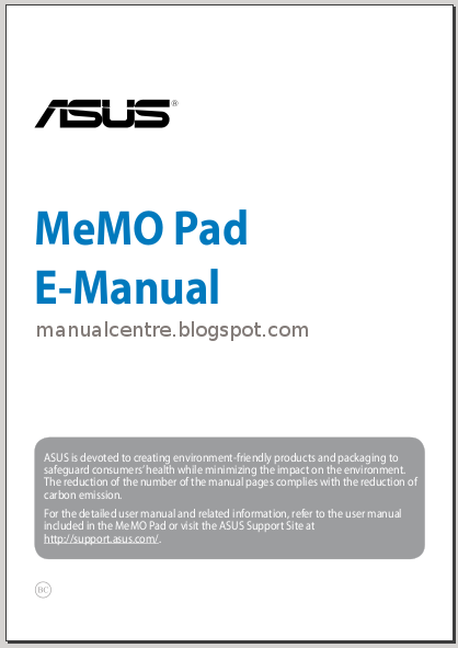 Asus Memo Pad HD7 Manual and Settings Guide