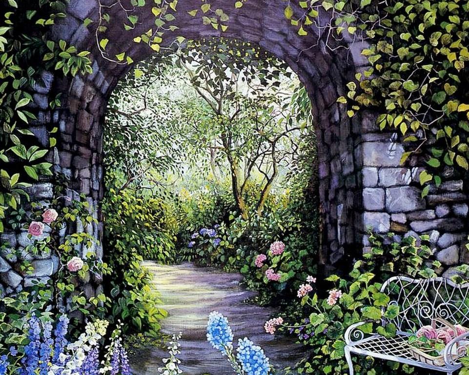 Im genes arte pinturas paisajes de jardines for Paisajes de jardines