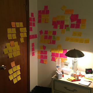 Dozens of sticky notes pink, yellow and orange on my bedroom wall and closet door by my bedside table to help me organize my thoughts