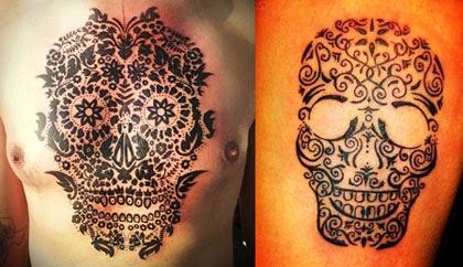 Tatuagem caveira mexicana maori