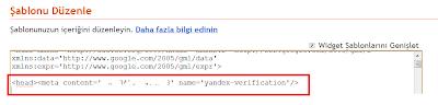 Yandex Onaylama Kodu Yerleştirme