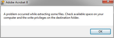 A problem occurred while extracting some files. Check available space on your computer and the write privileges on the destination folder.