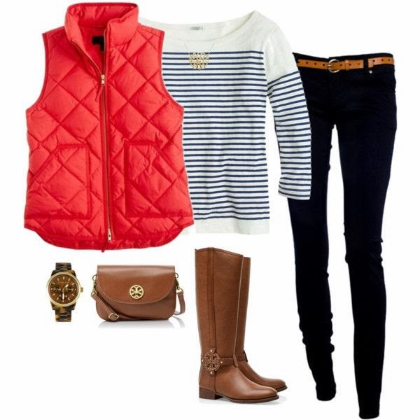Red sleeveless jacket, white sweater, black pants, long boots and hand bag