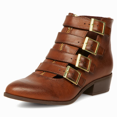 tan buckle ankle boot