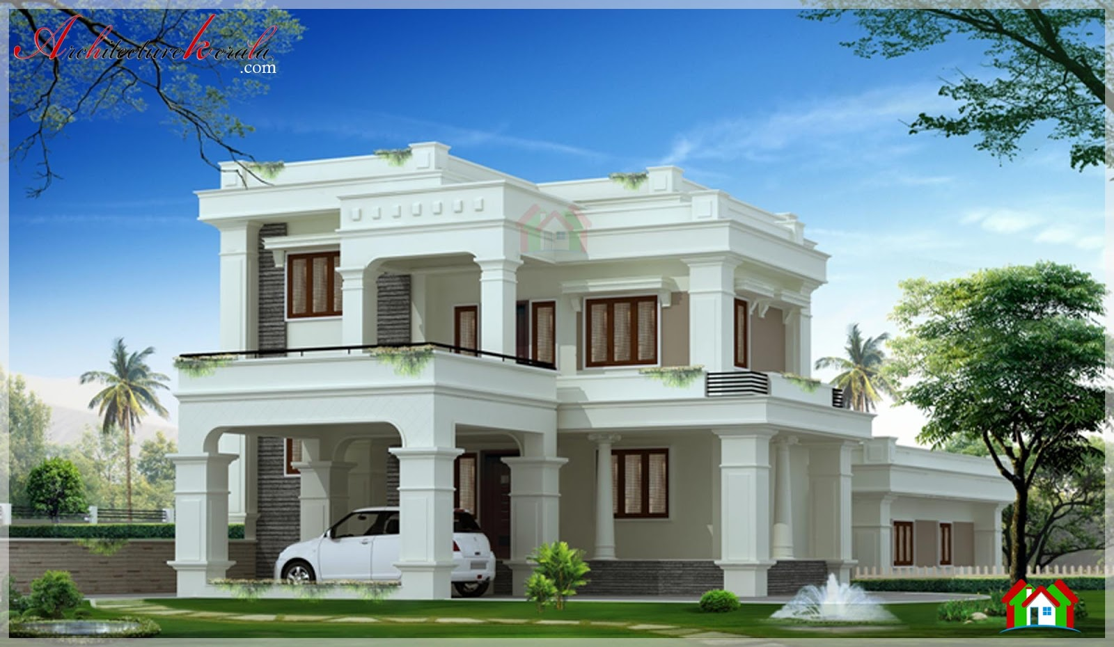 3000 square feet contemporary style elevation for Different mansion styles