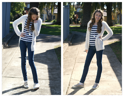 Winter Casual Outfit by Southern In-Law  Fluffy Knit Cardigan, Striped T-Shirt, Jeans, Sneakers and Statement Jewellery