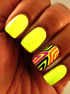 China Glaze Celtic Sun, tribal, accent, neon, highlighter yellow, nails, nail art, nail design, mani