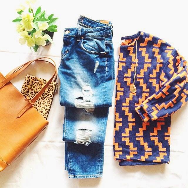 organge jumper, orange printed jumper, monica vinader necklace, monica vinader jewellery, monica vinader marie pendant, tote bag, j crew tote bag