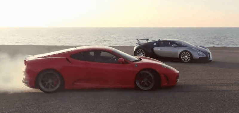 ブガッティ・ヴェイロンの周りをフェラーリでドリフトする動画が話題!