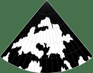 Feorad Isle, Calidar's northernmost land, Lambert Conformal Conic Projection