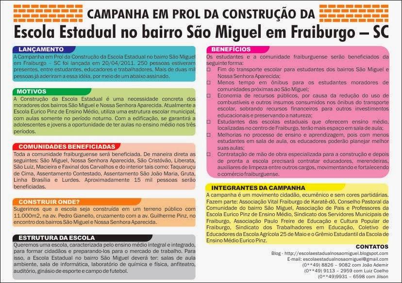 Campanha em Prol da Construção da Escola Estadual no bairro São Miguel