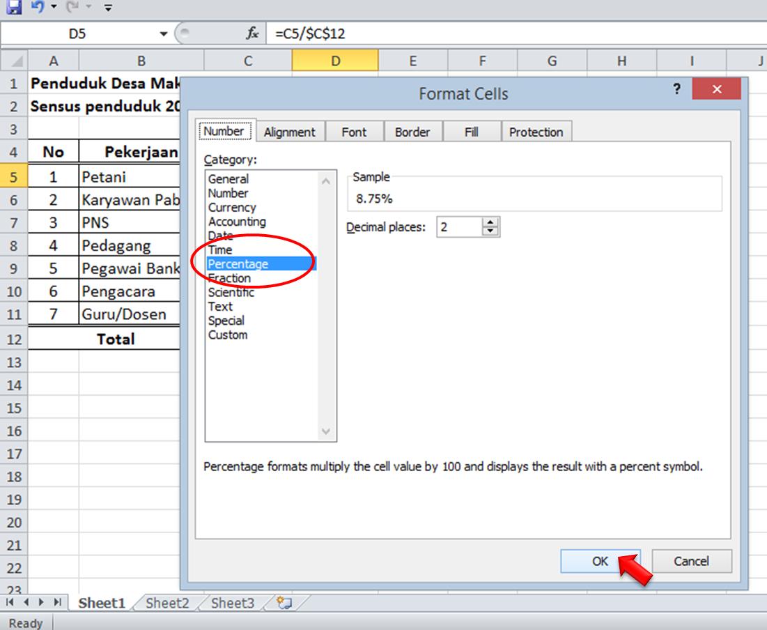 Cara Menghitung Di Microsoft Exel: Cara Menghitung Persen