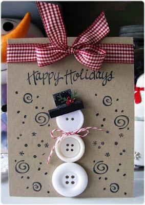 tarjeta navidad muñeco de nieve botones
