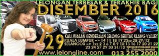 1 - 31/12/16 => 29 KALI JUALAN KENDERAAN LELONG SELURUH MALAYSIA, 8 TEMPAT SEKITAR LEMBAH KLANG