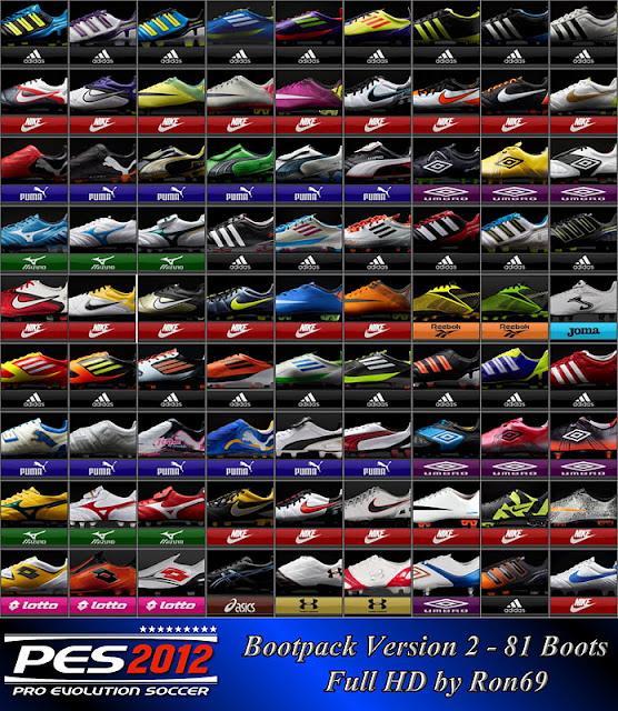 Bootpack v2 - 81 Chuteiras Full HD para PES 2012 Download, Baixar Bootpack com 81 Chuteiras em HD para PES 2012