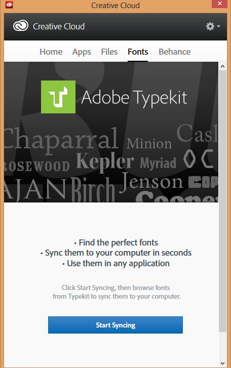 Start Syncing fonts through Creative Cloud application