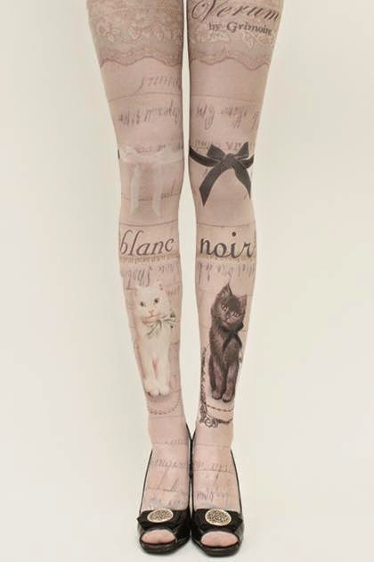 chiffon rose grimoire verum tights blac et noir cat international shipping alternative victorian fashion kawaii tokyo