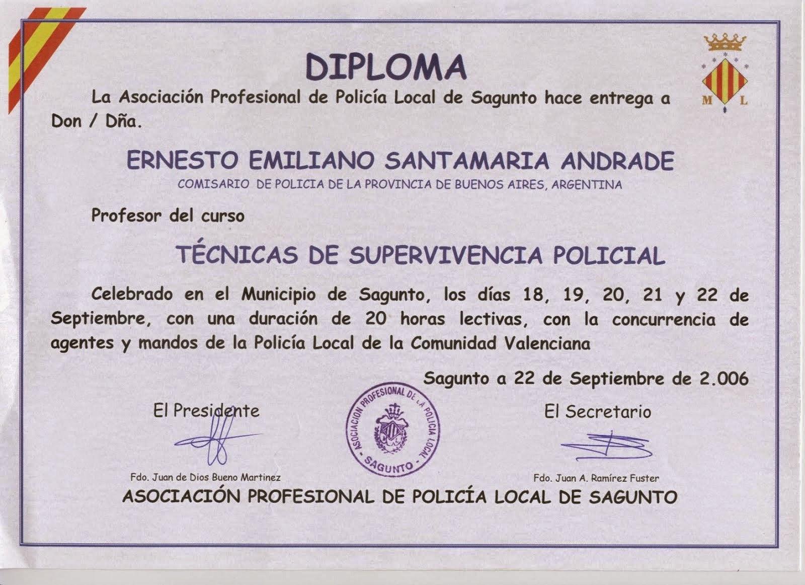 EL COMISARIO ERNESTO SANTAMARIA PROFESOR POLICIA SAGUNTO