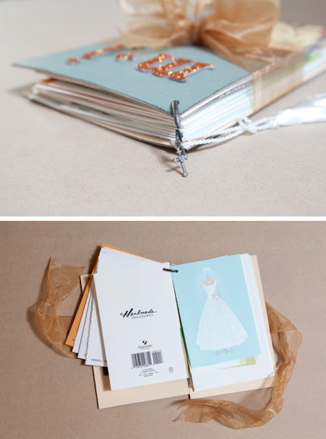 Assemble your wedding cards into a book to display on your coffee table!