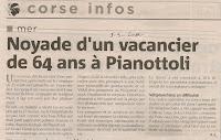 Vacancier noyade Pianottoli