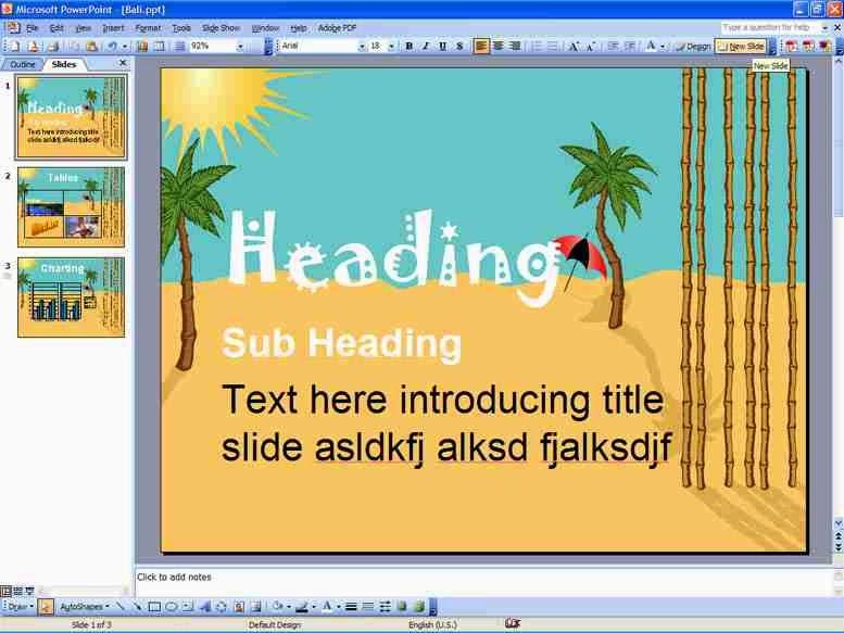 Desktop presentation using Powerpoint