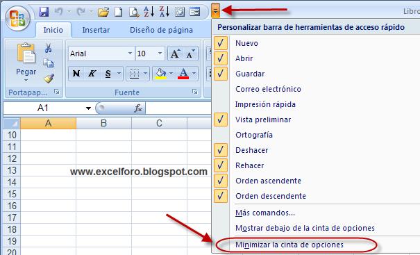 Barras de Excel 2007 de Opciones en Excel 2007
