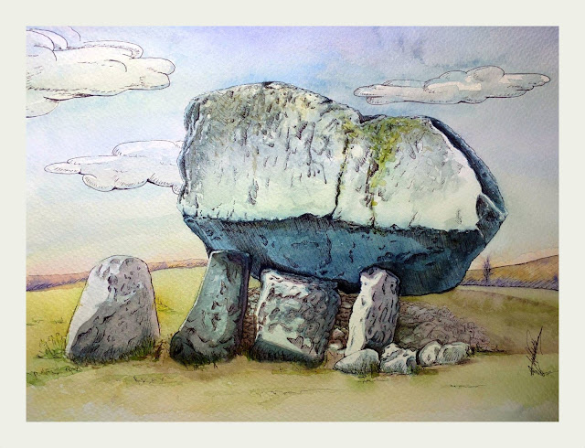 The Brownshill Dolmen a watercolour artwork by Elizabeth Casua, tHE 33ZTH oRDER. Portal tomb