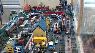 Lego train set with lego people