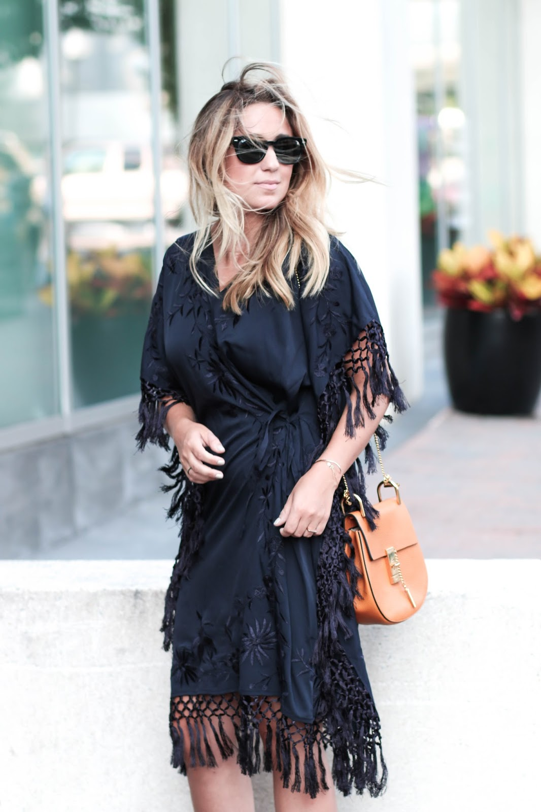 fringe, french connection, dress, black, summer, outfit, style, prada, heels, rayban, sunglasses, chloe, bag, borrow, style, blog, dc, fashion