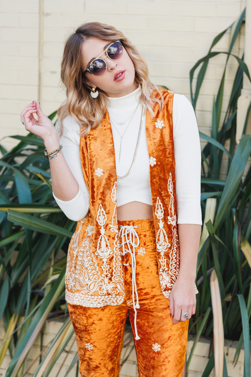 Bohemian Velvet burnout vest and lace up pant set with embroidery detail from Lenni The Label Australian Fashion Brand on Fashion Blogger Bryn Newman of San Francisco California blog, stone fox style.