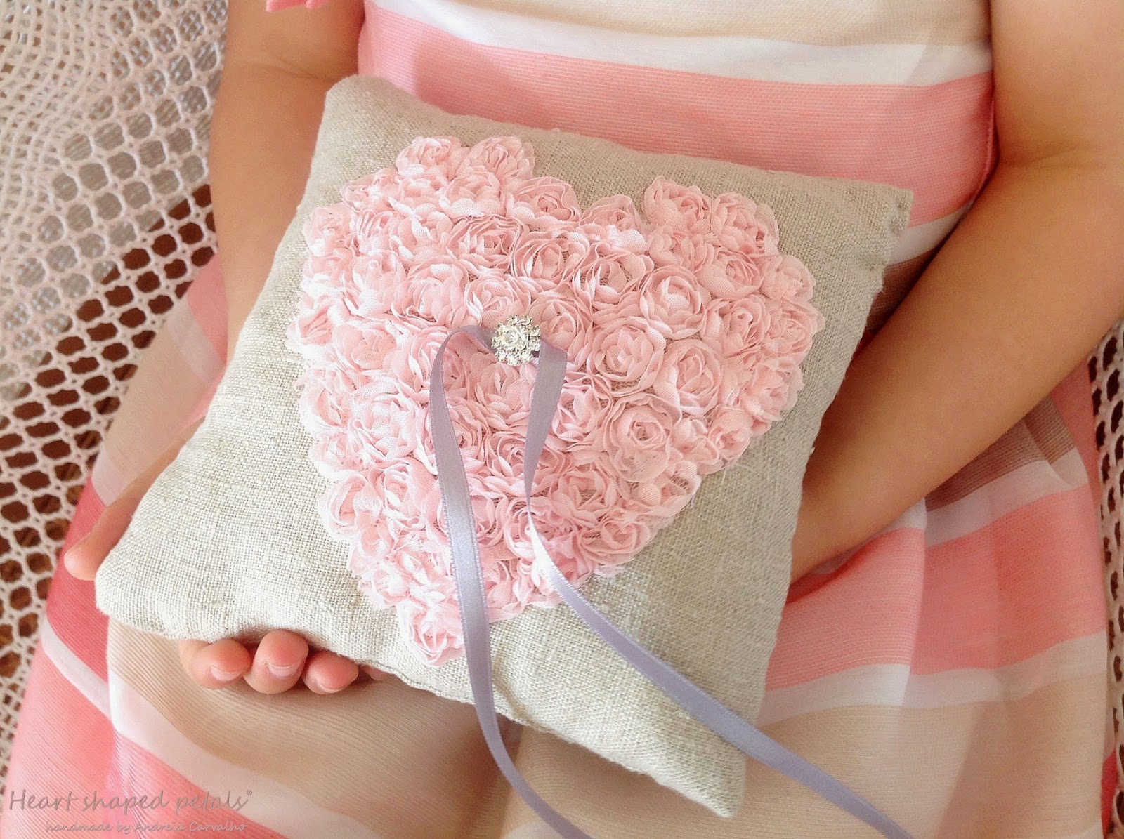 Shabby chic ring bearer pillow