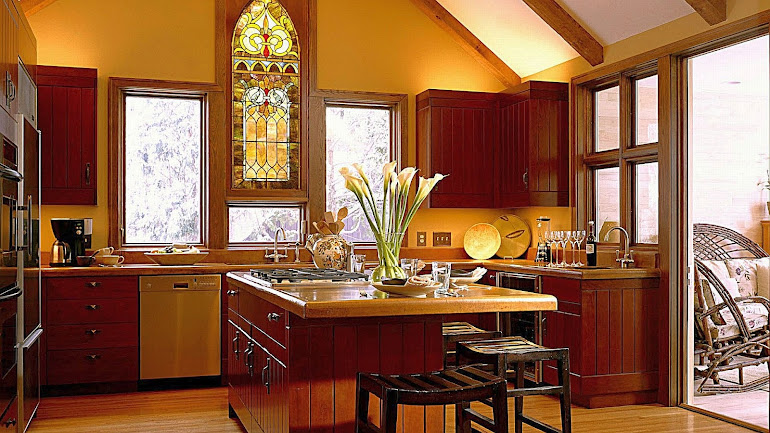 Interior Kitchen with a stained-glass window